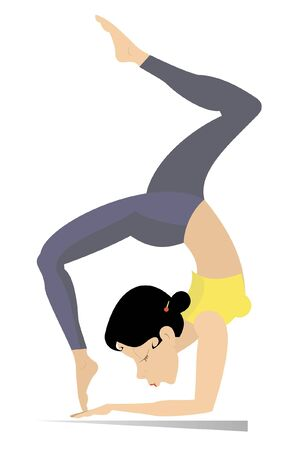 Young woman with lithe figure doing sport or yoga exercises illustration. Young woman with lithe figure standing on the hands with legs up and doing sport or yoga exercises isolated on white