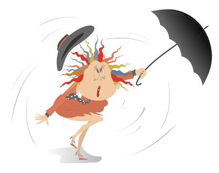 Strong wind, rain and woman with umbrella illustration. Cartoon woman with umbrella on the wind under the rain isolated on white illustration
