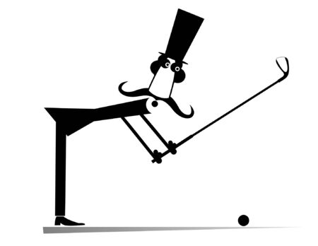 Long mustache man in the top hat plays golf isolated illustration.  Long mustache gentleman in the top hat tries to make a good kick black on white