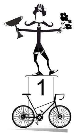 Cyclist, podium of the winner and bike illustration. Funny long mustache cyclist stands on the podium and holds a winner cup and flowers black on white illustration Stock Illustratie