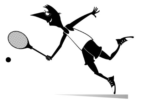Young man playing tennis isolated illustration. Man with a tennis racket beats a ball black on white