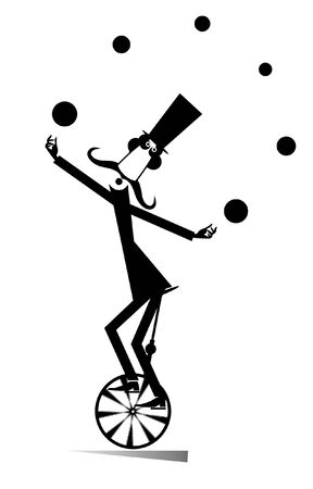 Equilibrist mustache man rides on the unicycle and juggles the balls illustration. Funny long mustache man in the top hat balances on the unicycle and juggles the balls black on white Stock Illustratie