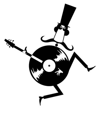 Funny mustache man in the top hat, guitar and vinyl record concept illustration. Cartoon long mustache man in the top, guitar and vinyl record black on white