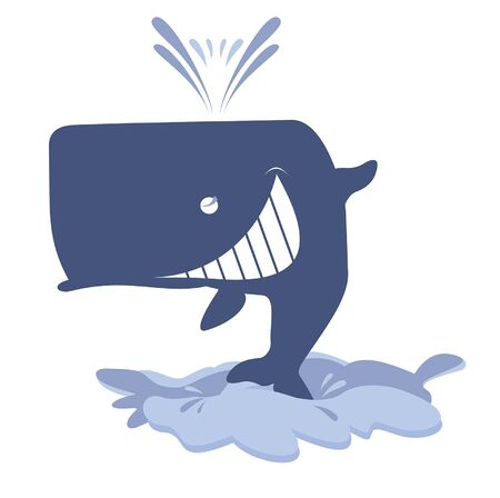 Funny whale jumps out from the water illustration. Cartoon smiling whale is above the water waves isolated on white