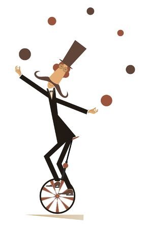 Equilibrist mustache man rides on the unicycle and juggles the balls illustration. Funny long mustache man in the top hat balances on the unicycle and juggles the balls isolated on white