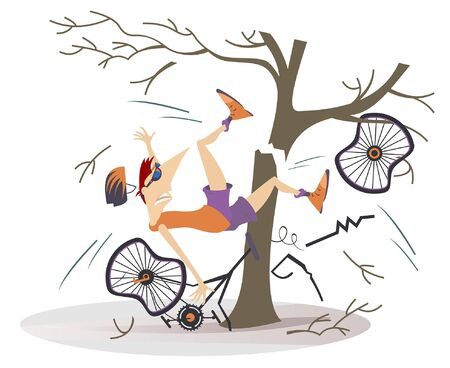 Cyclist smashed into a tree isolated illustration. Cyclist smashed into a tree and falls down from the broken bicycle isolated on white illustration