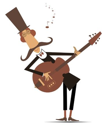 Cartoon long mustache guitarist is playing music illustration isolated. Mustache man in the top hat plays guitar and sings isolated on white