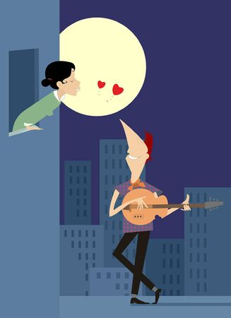 Love couple rendezvous under the moon illustration. Full moon and young man stays under the window of the girlfriend, plays guitar and sings love song illustration
