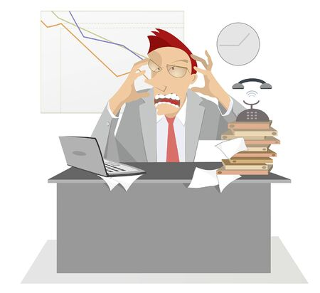Upset and tired businessman in the office illustration. Upset man with open mouth sits at the table in the office and puts his hands on the head illustration