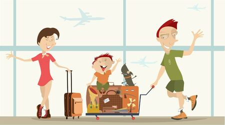 Young family in the airport illustration. Young man and woman, a child, a dog and a big luggage are in the airport illustration