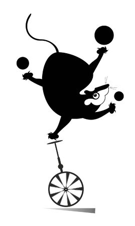 Equilibrist rat or mouse rides on the unicycle and juggles the balls illustration. Funny rat or mouse balances on the unicycle and juggles the balls black on white