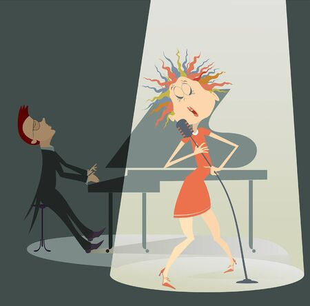 Singer woman and a pianist in the concert illustration. Singer woman sings in the spotlight with a pianist on the back side