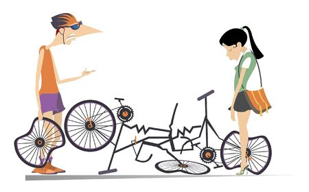 Road accident, two cyclists and broken bikes illustration. Broken bikes and angry cyclist holds a broken wheel and scolds the sad cyclist woman with hang his head isolated illustration