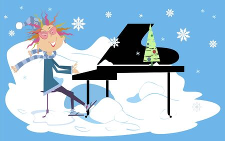 Winter piano concert illustration.  Smiling pianist woman is playing music under the falling snow Ilustracja