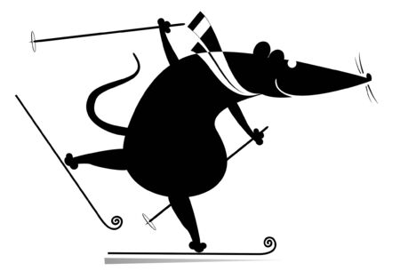 Cartoon rat or mouse a skier illustration. Funny rat or mouse skier black on white Illusztráció