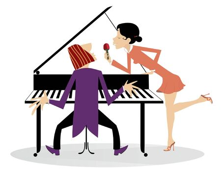Singer woman and a pianist in the concert illustration. Pianist and singer woman holds microphone and sings isolated on white