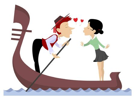 Man, woman, love, heart symbols and gondola illustration. Funny gondolier and woman fall in love and ride on gondola isolated on white isolated illustration