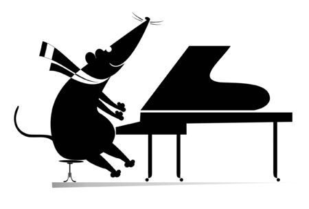 Pianist rat or mouse plays piano isolated illustration.  Pianist rat or mouse plays piano black on white illustration