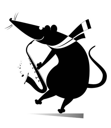 Rat or mouse a saxophonist isolated illustration. Funny rat or mouse plays music on saxophonist with great inspiration black on white 일러스트