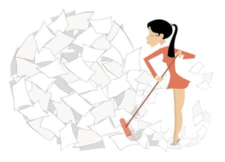Young woman tidying up the office illustration. Young woman sweeps a big ball of papers or documents using a broom isolated on white Ilustracja