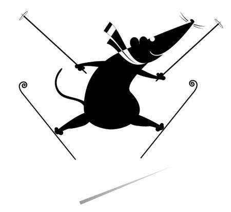 Cartoon rat or mouse a skier illustration. Funny rat or mouse skier black on white Illustration