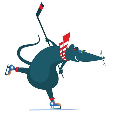 Cartoon rat or mouse an ice hockey player illustration. Cartoon rat or mouse plays ice hockey original silhouette isolated