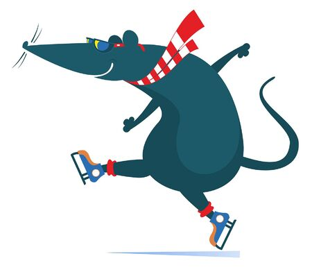 Cartoon rat or mouse a skater illustration. Funny rat or mouse is skating isolated on white illustration