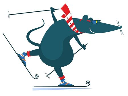 Cartoon rat or mouse a skier illustration. Funny rat or mouse skier isolated on white