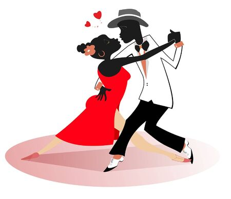 Romantic dancing young African couple isolated illustration.  Romantic dancing young African man and woman and heart symbols isolated on white illustration