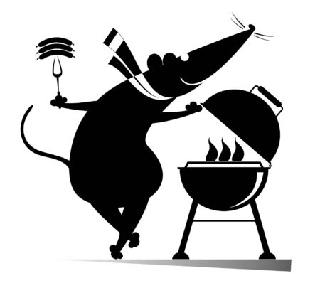 Barbecue and rat or mouse illustration. Cartoon rat or mouse frying sausages and steaks on the grill black on white illustration