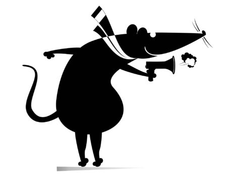 Rat or mouse, megaphone and news isolated illustration. Cartoon rat or mouse with megaphone makes announcement black on white