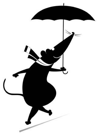 Fine day and rat or mouse with umbrella illustration. Cartoon rat or mouse walking with an umbrella silhouette black on white
