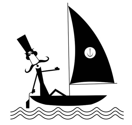 Mustache man sails of the yacht isolated illustration. Funny long mustache man in the top hat sails of the sailing boat black on white