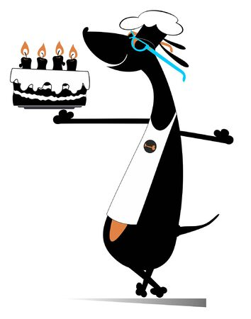 Smiling dog a cook holds a holiday cake illustration. Funny dachshund a cook holds a holiday cake decorated with candles isolated on white