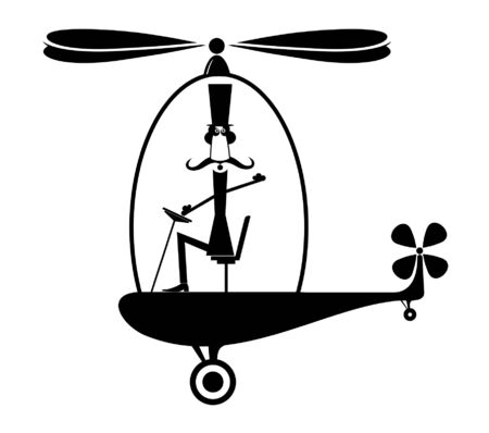 Funny man in the top hat flies on the helicopter illustration.  Funny long mustache pilot in the top flies on the helicopter black on white illustration