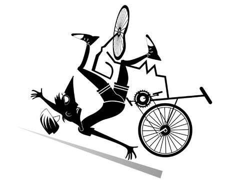 Cyclist falling down from the bicycle isolated illustration. Cyclist falling down from the broken bicycle black on white illustration Ilustracja