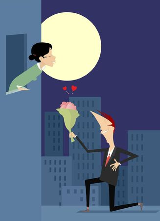 Love couple rendezvous under the moon illustration. Man in love staying on the knee holds hand on the heart gives bunch of flowers to his woman isolated on white illustration Standard-Bild - 138030042
