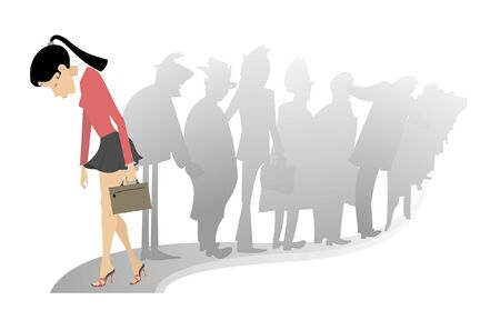 Sad woman and a turn of the people illustration. Sad woman with a bag hangs her head and passes by the turn of the people