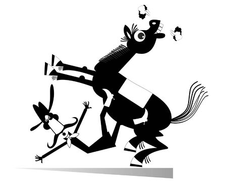 Cartoon rider falls from the horse isolated illustration. Funny long mustache man or cowboy falling down from the horse black on white