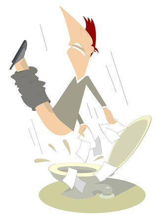 Man with diarrhea (food poisoning) in the toilet illustration.  San man with diarrhea flies under the toilet sink and using a lot of tissue illustration