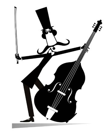 Cartoon long mustache cellist isolated illustration.  Smiling mustache man in the top hat with cello and fiddlestick black on white illustration