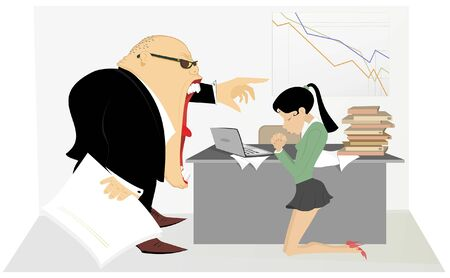 Angry boss and employee woman illustration. Angry chief scolds his frightened kneeling employee woman illustration