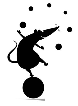 Equilibrist rat or mouse on the big ball juggles the balls illustration. Funny rat or mouse balances on the big ball and juggles the balls black on white illustration 일러스트
