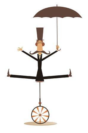 Equilibrist mustache man with umbrella rides on the unicycle illustration. Funny long mustache man in the top hat holds an umbrella and balances on the unicycle isolated on white 일러스트