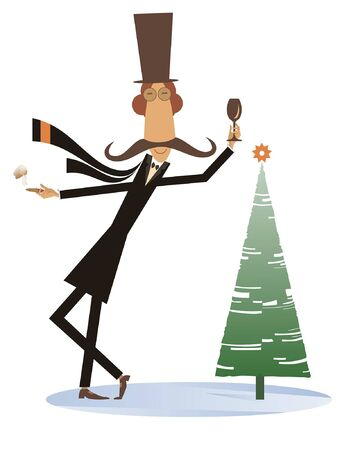 Mustache man in the top hat keeps Christmas and New Year day isolated illustration. Funny mustache man in the top hat with glass of wine and cigar stays near the fir