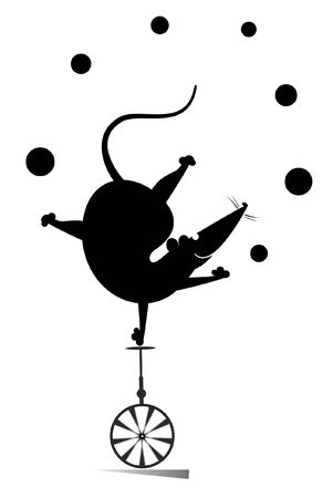 Equilibrist rat or mouse rides on the unicycle and juggles the balls illustration. Funny rat or mouse balances on one leg on the unicycle head over heels and juggles the balls black on white