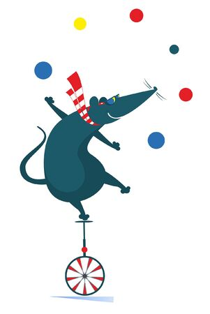 Equilibrist rat or mouse rides on the unicycle and juggles the balls illustration. Funny rat or mouse balances on the unicycle and juggles the balls isolated on white
