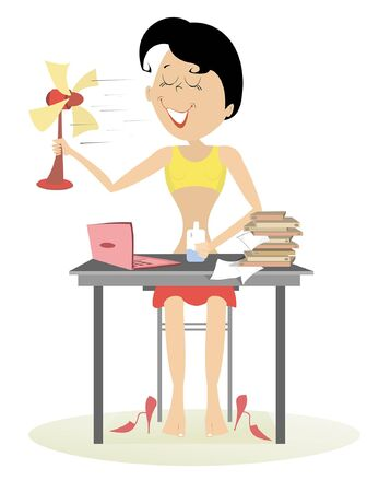 Heat in the office, woman, table fan and a bottle of water illustration. Woman in the office sits near the table holds a tabletop fan and a bottle of water and takes a delight from the fresh air isolated on white