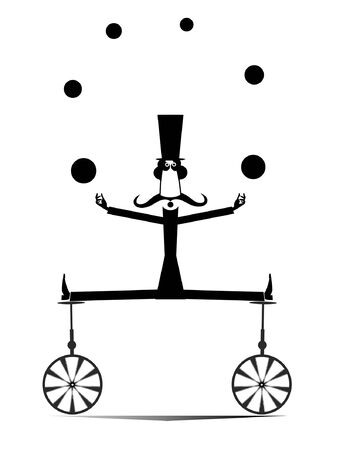 Equilibrist mustache man on two unicycles juggles the balls illustration. Funny long mustache man in the top hat balances on two unicycles and juggles the balls black on white illustration Vectores