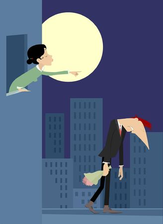 Quarrel between love couple illustration. Full moon and young woman points to go out the man with a bunch of flowers isolated on white Vectores
